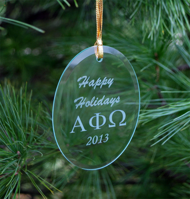 Alpha Phi Omega Engraved Glass Ornament