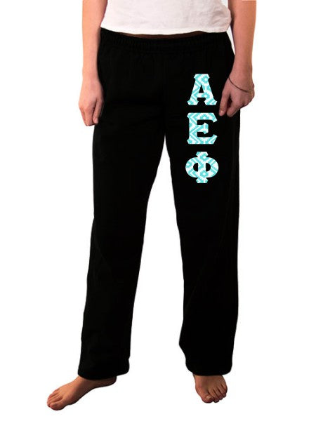 Alpha Epsilon Phi Open Bottom Sweatpants with Sewn-On Letters