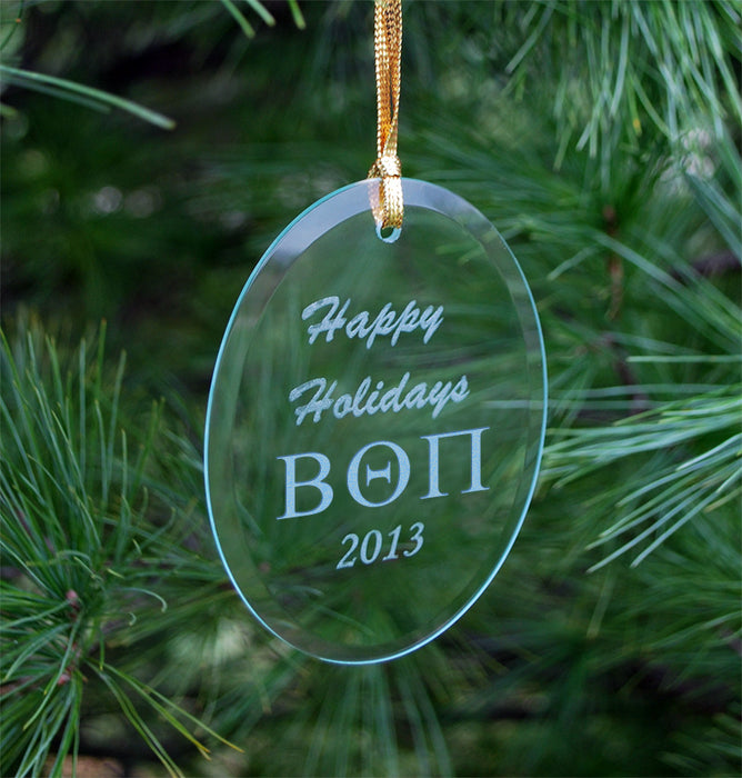 Beta Theta Pi Engraved Glass Ornament