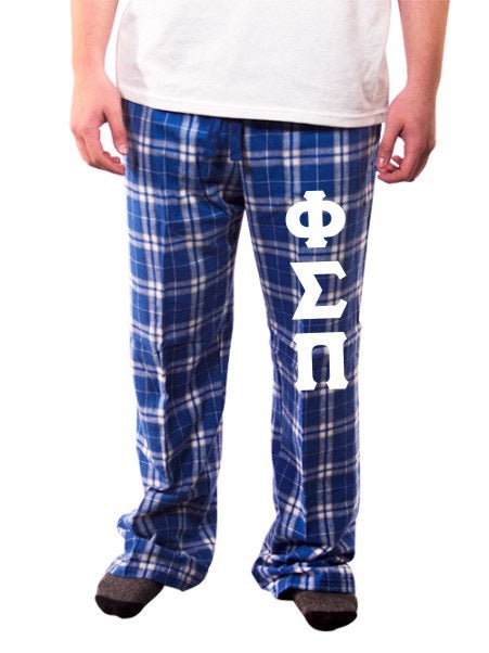 Phi Sigma Pi Pajama Pants with Sewn-On Letters