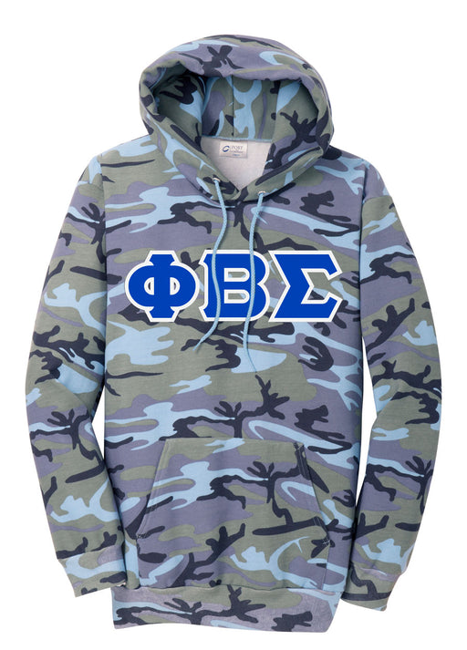Phi Beta Sigma Camo Hooded Pullover Sweatshirt