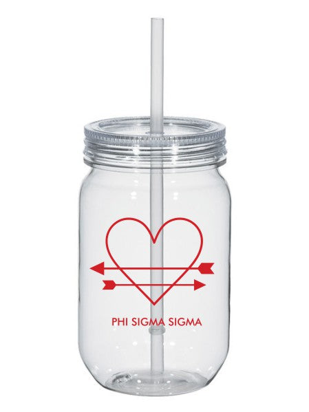 Phi Sigma Sigma Heart Arrows Name 25oz Mason Jar