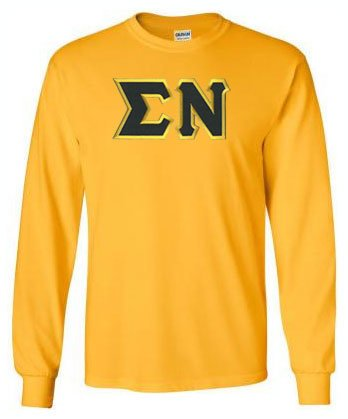Sigma Nu Long Sleeve Greek Lettered Tee