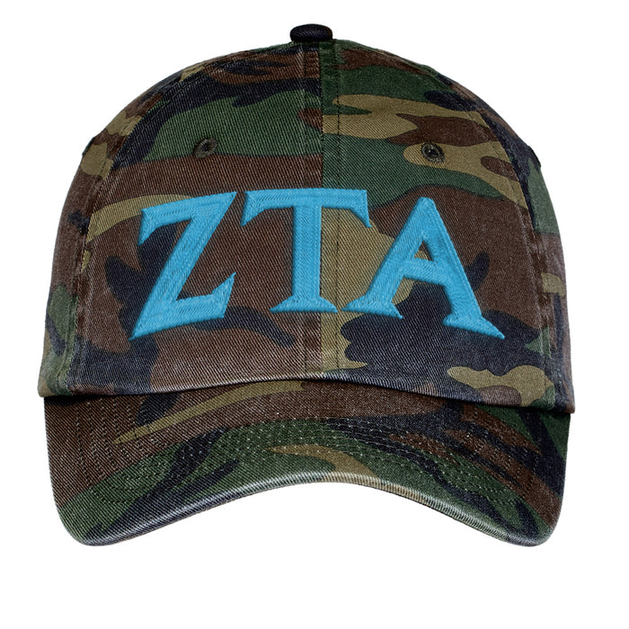 Zeta Tau Alpha Letters Embroidered Camouflage Hat