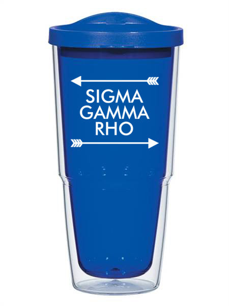 Sigma Gamma Rho Arrow Top Bottom 24oz Tumbler with Lid