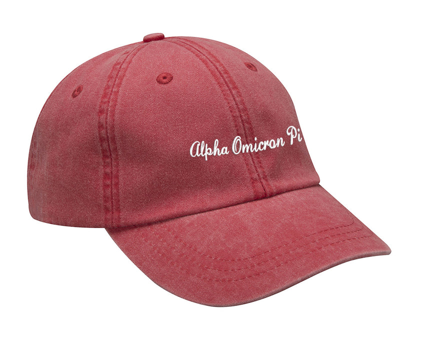 Alpha Omicron Pi Cursive Embroidered Hat