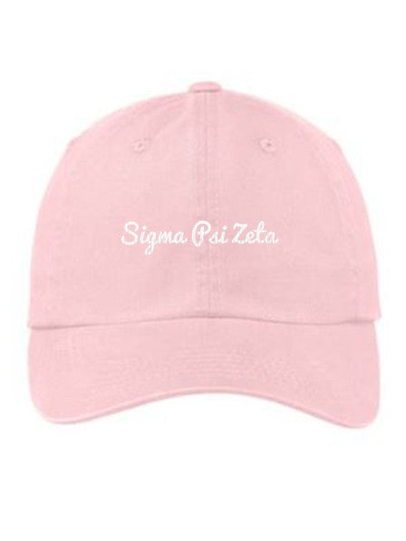 Sigma Psi Zeta Cursive Embroidered Hat