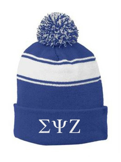 Sigma Psi Zeta Embroidered Pom Pom Beanie