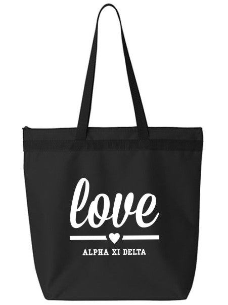 Alpha Xi Delta Love Tote Bag