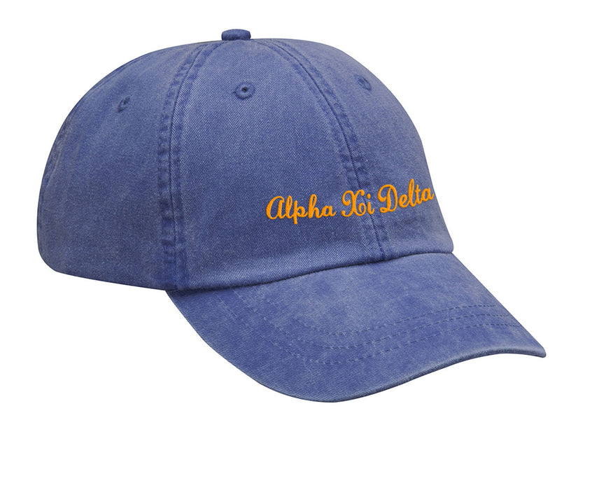 Alpha Xi Delta Cursive Embroidered Hat