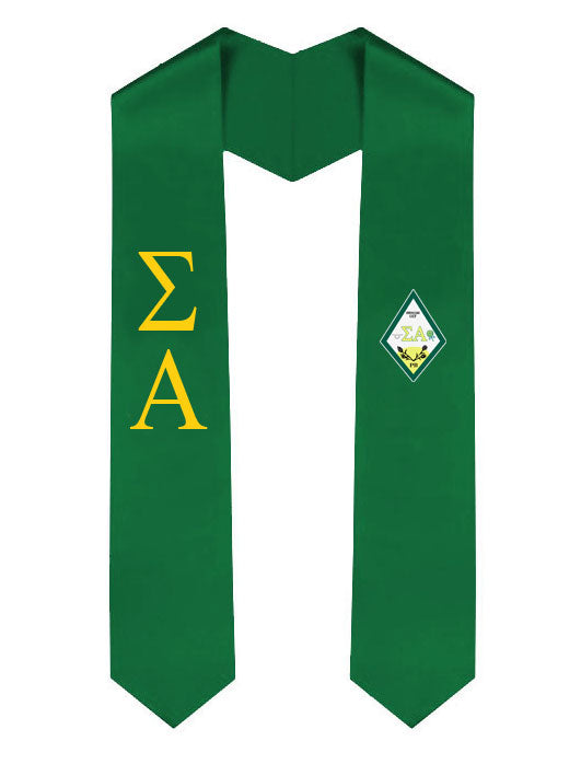 Sigma Alpha Lettered Graduation Sash Stole with Crest