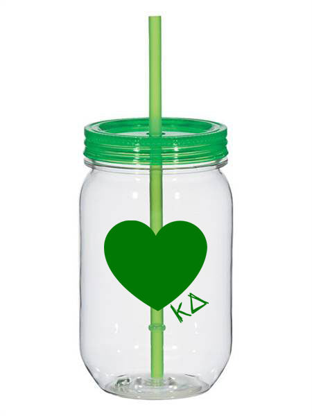Kappa Delta 25oz Scribbled Heart Mason Jar