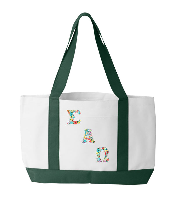 Sigma Alpha Omega 2-Tone Boat Tote with Sewn-On Letters