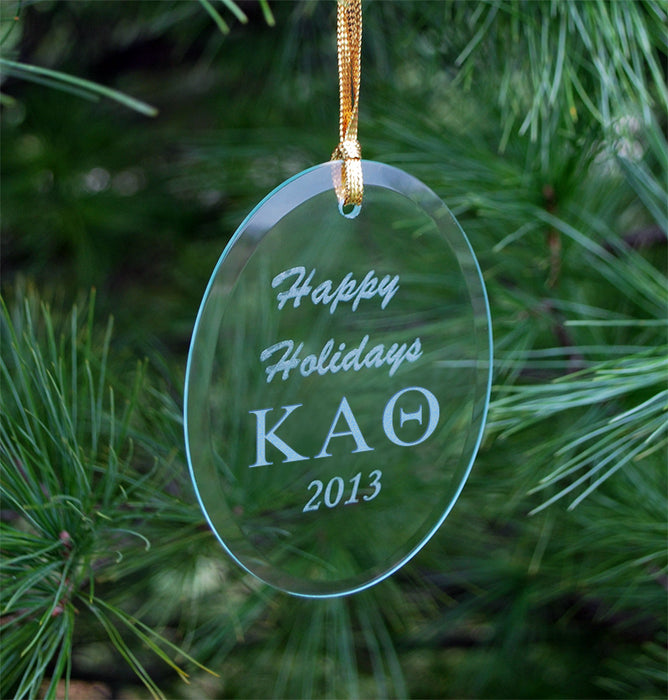 Kappa Alpha Theta Engraved Glass Ornament