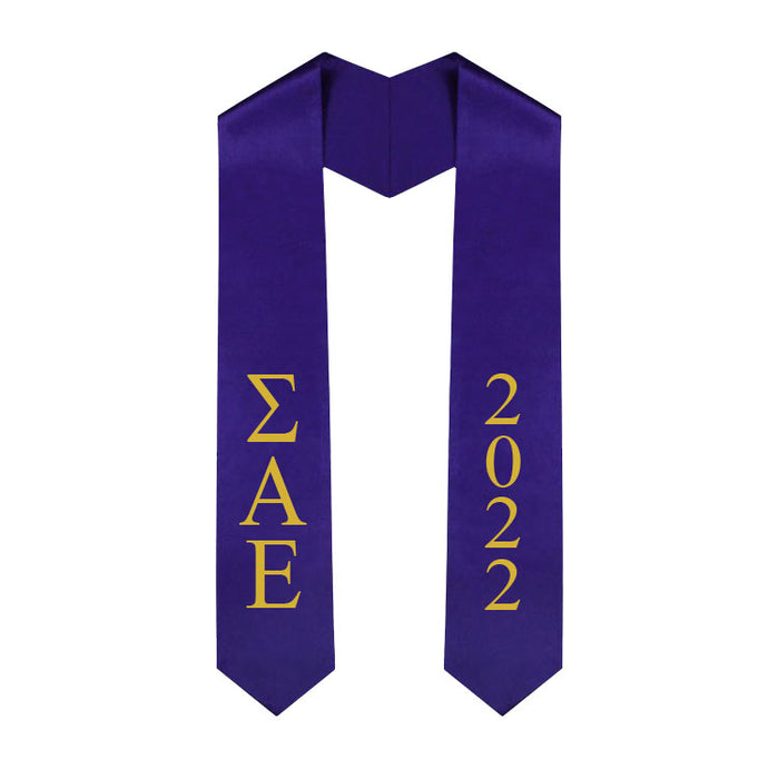 Sigma Alpha Epsilon Vertical Grad Stole with Letters & Year