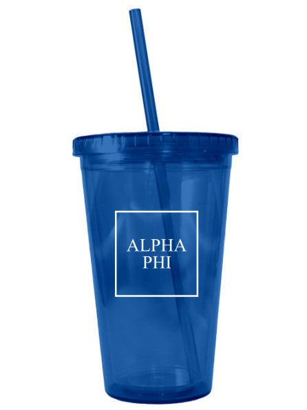 Alpha Phi Box Stacked 16 oz Acrylic Tumbler