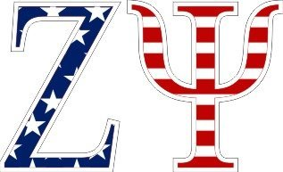 Zeta Psi American Flag Letter Sticker - 2.5