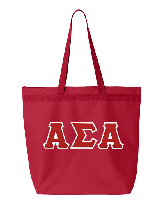 Alpha Sigma Alpha Greek Lettered Game Day Tote