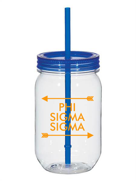 Phi Sigma Sigma Arrow Top Bottom 25oz Mason Jar