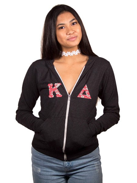 Kappa Delta Unisex Triblend Lightweight Hoodie with Horizontal Letters