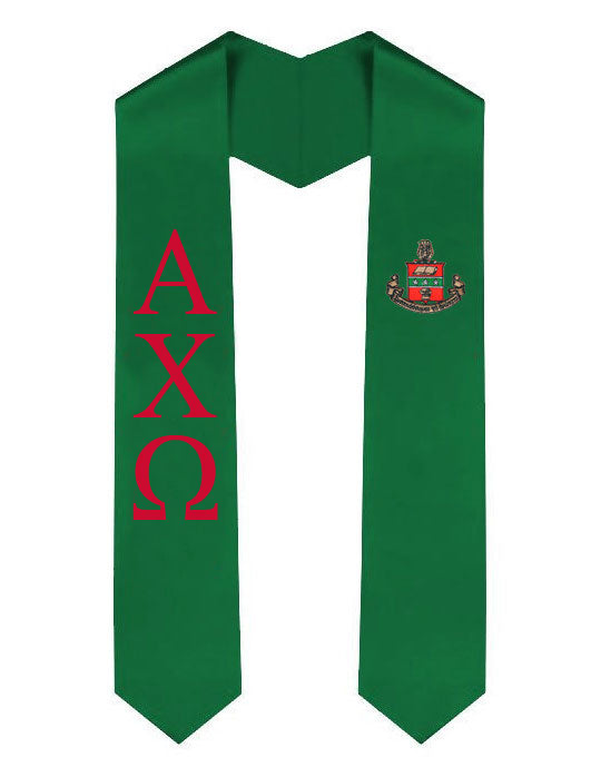 Alpha Chi Omega Lettered Graduation Sash Stole with Crest