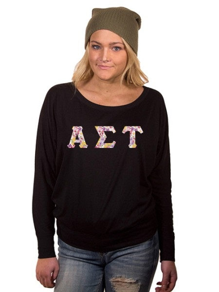 Alpha Sigma Tau Off the Shoulder Flowy Long Sleeve Shirt with Letters