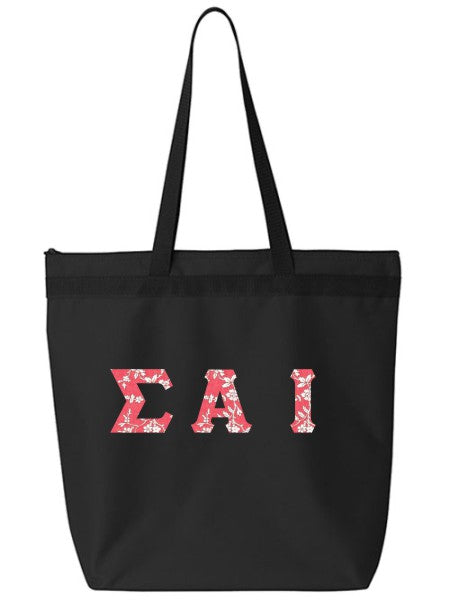 Sigma Alpha Iota Large Zippered Tote Bag with Sewn-On Letters