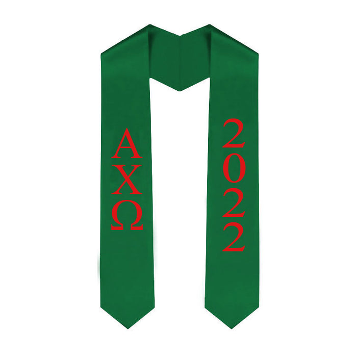 Alpha Chi Omega Vertical Grad Stole with Letters & Year