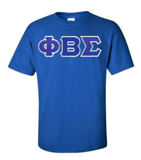 Phi Beta Sigma Short Sleeve Crew Shirt with Sewn-On Letters