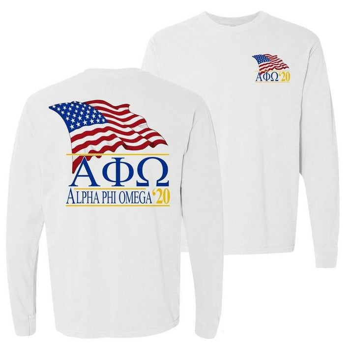 Alpha Phi Omega Patriot Flag Comfort Colors Long Tee