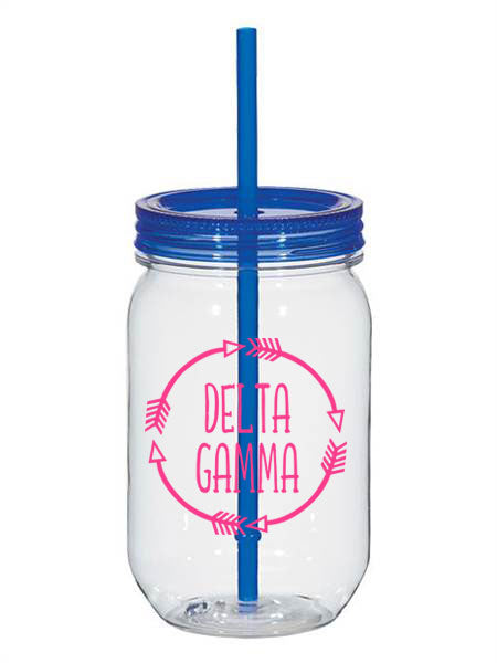 Delta Gamma Arrows 25oz Mason Jar