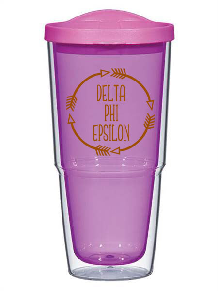 Delta Phi Epsilon Circle Arrows 24 oz Tumbler with Lid