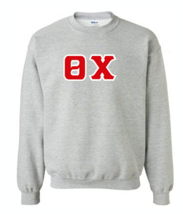 Theta Chi Classic Colors Sewn-On Letter Crewneck