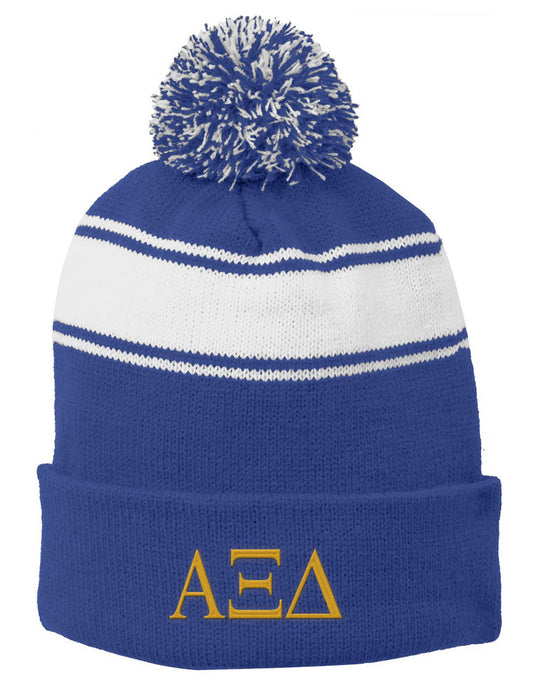 Alpha Xi Delta Embroidered Pom Pom Beanie