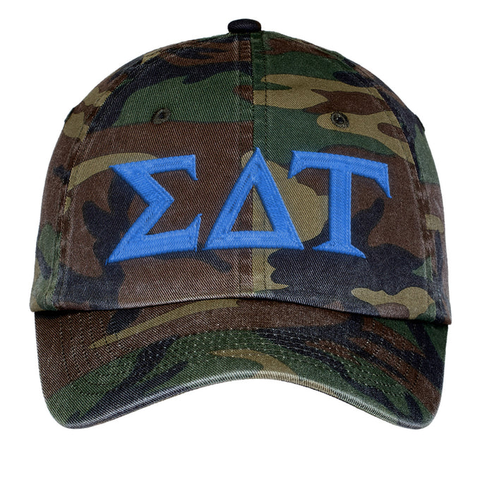 Sigma Delta Tau Letters Embroidered Camouflage Hat