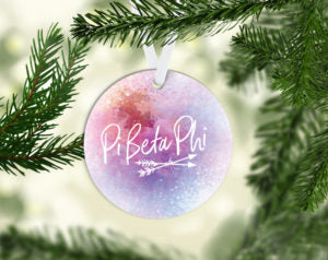 Pi Beta Phi Round Acrylic Watercolor Ornament