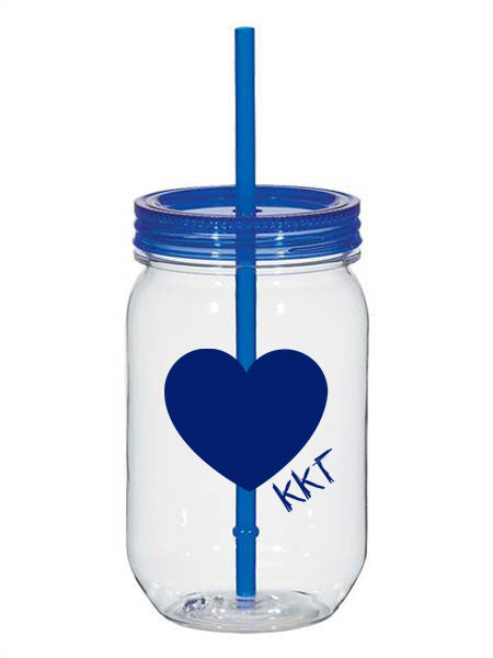 Kappa Kappa Gamma 25oz Scribbled Heart Mason Jar