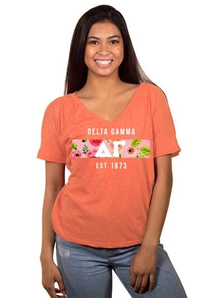 Delta Gamma Floral Letter Box Slouchy V-Neck Tee