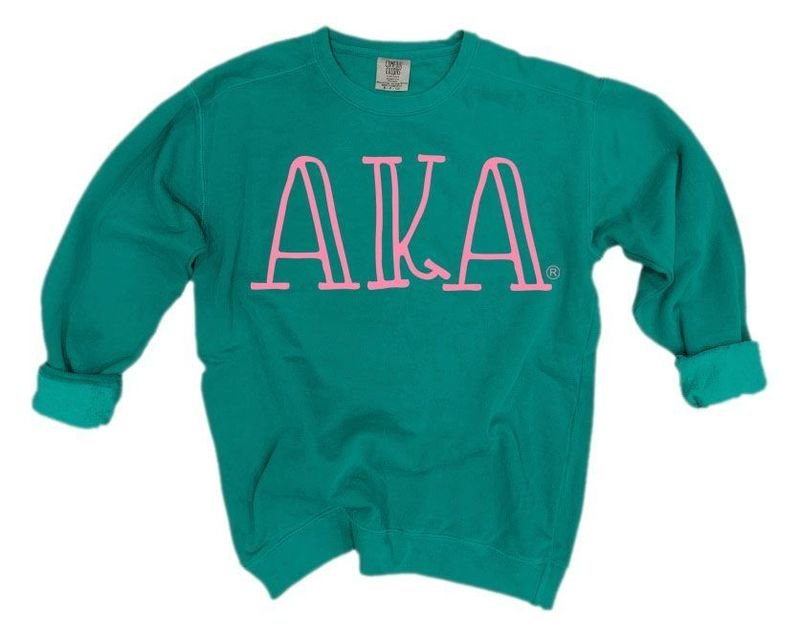 Alpha Kappa Alpha Comfort Colors Greek Letter Sorority Crewneck Sweatshirt