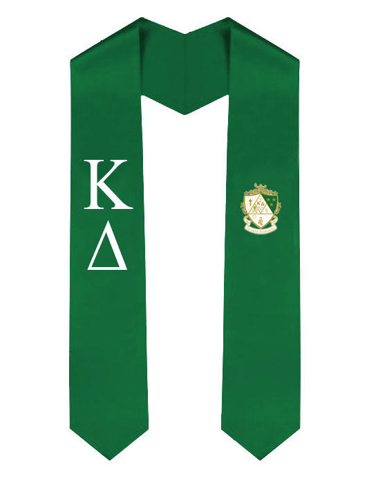 Kappa Delta Lettered Graduation Sash Stole with Crest