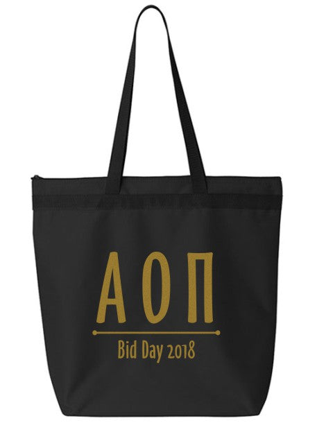 Alpha Omicron Pi Oz Letters Event Tote Bag
