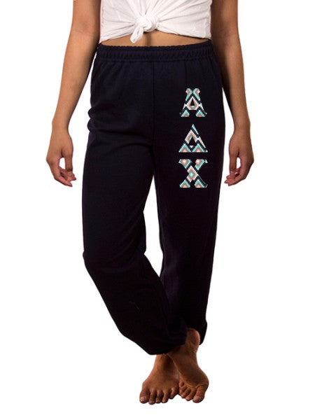 Alpha Delta Chi Sweatpants with Sewn-On Letters