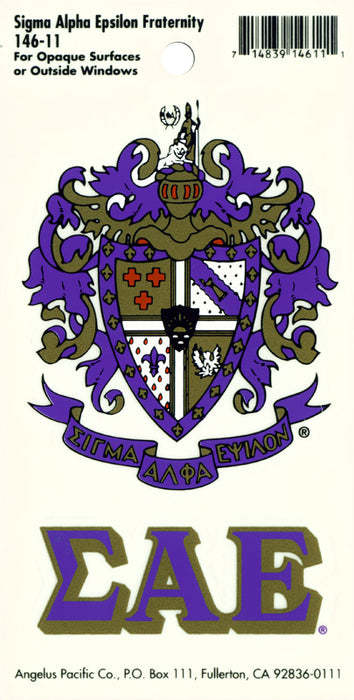 New Sigma Alpha Epsilon Crest Decal 984 Crest Decal
