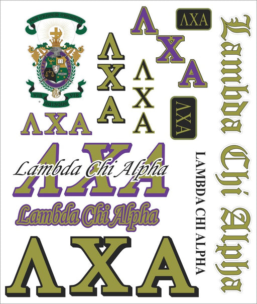 Lambda Chi Alpha Multi Greek Decal Sticker Sheet