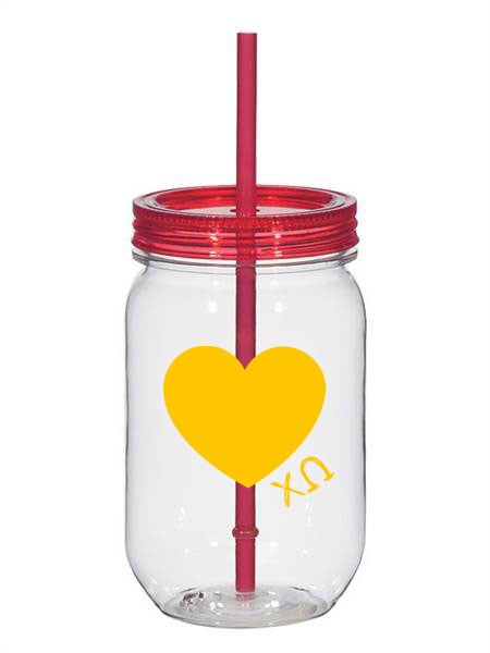 Chi Omega 25oz Scribbled Heart Mason Jar