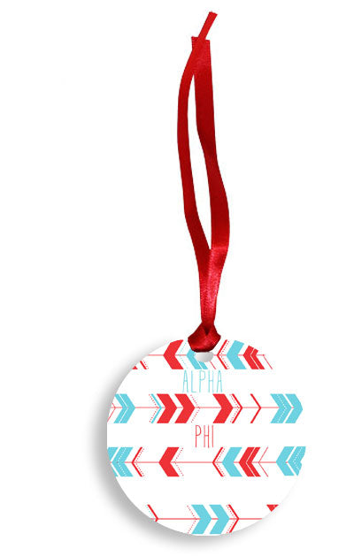 Alpha Phi Red and Blue Arrow Pattern Sunburst Ornament