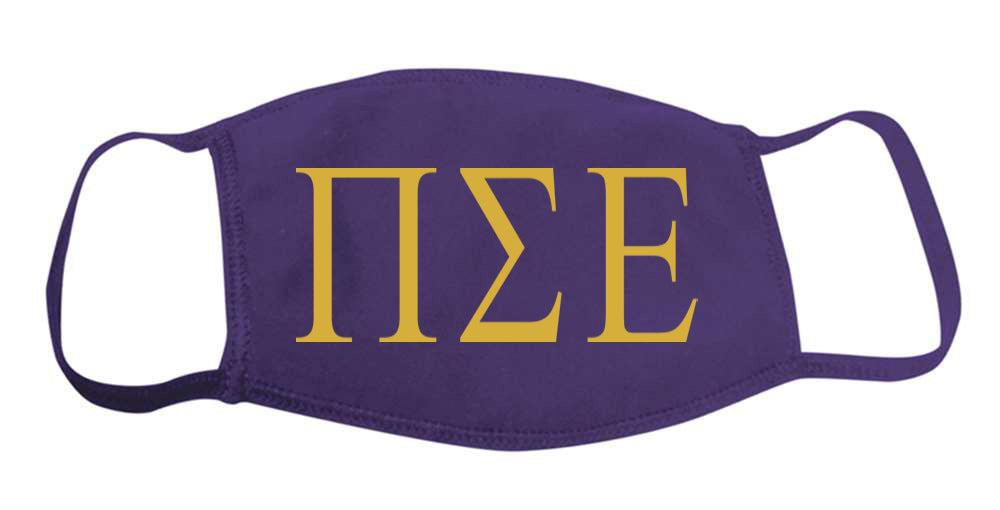 Pi Sigma Epsilon Face Mask With Big Greek Letters