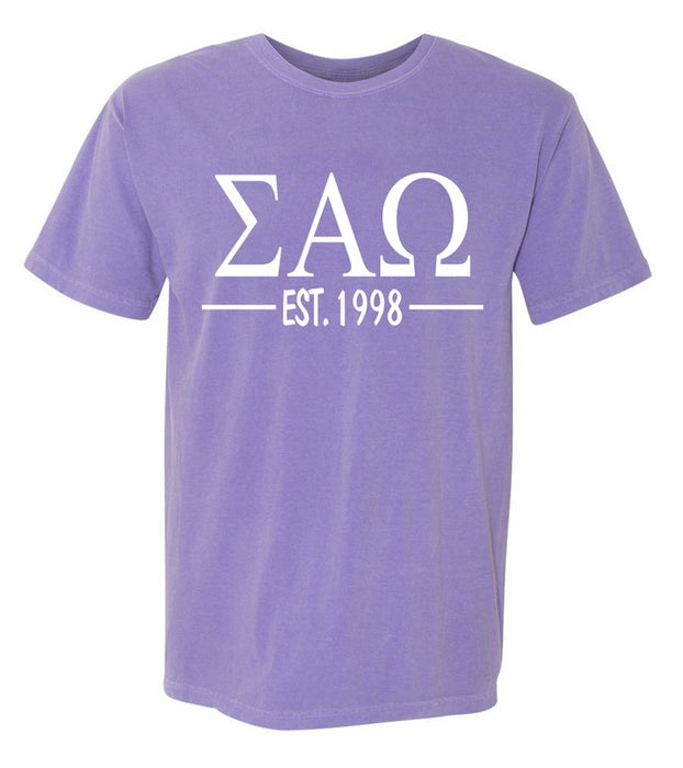 Sigma Alpha Omega Comfort Colors Established Sorority T-Shirt