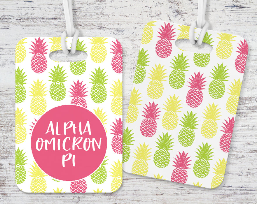 Alpha Omicron Pi Pineapple Luggage Tag