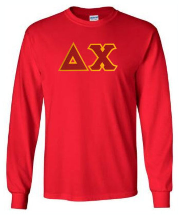 Delta Chi Long Sleeve Greek Lettered Tee